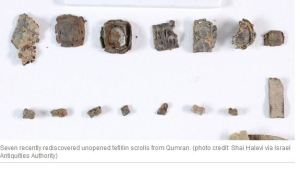 Unopened Tefillin Scrolls from Qumran