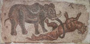 Mosaic of an Elephant_Attacking_a_Feline